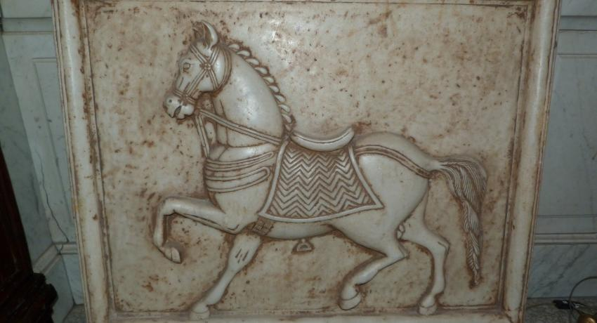 Marble relief jb antique horse