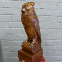 JB antique owl wooden uil in hout