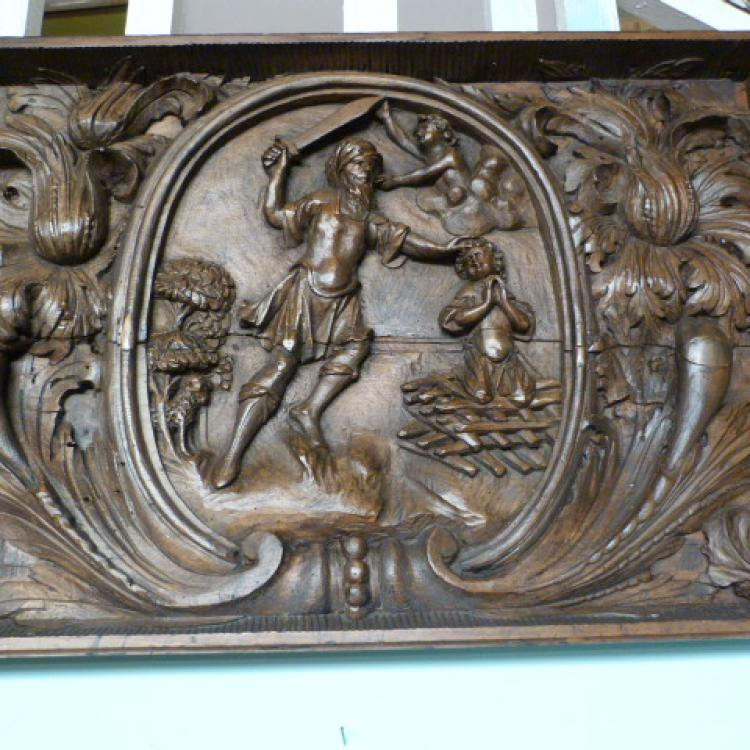 Abraham wooden panel Isaac