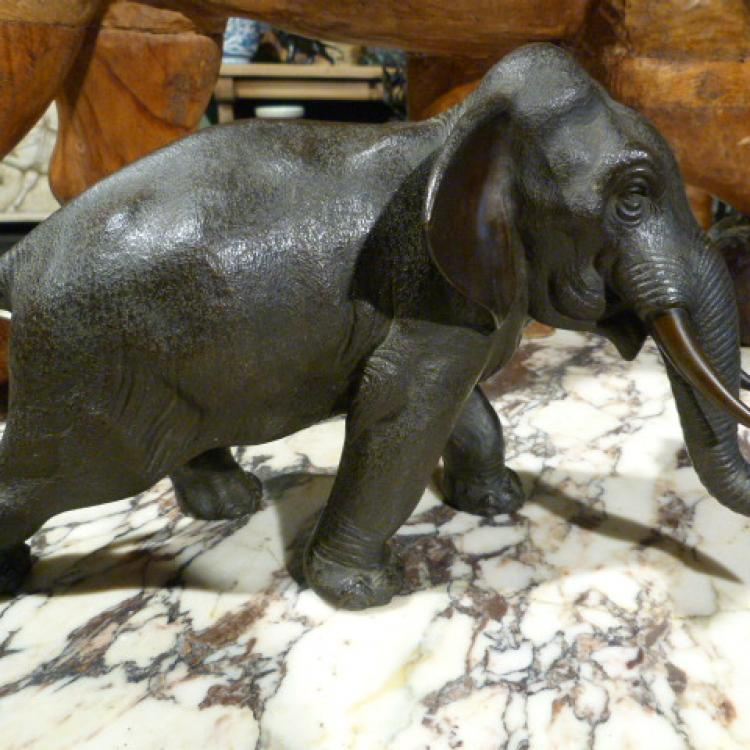 jb antique meiji bronze elephant olifant