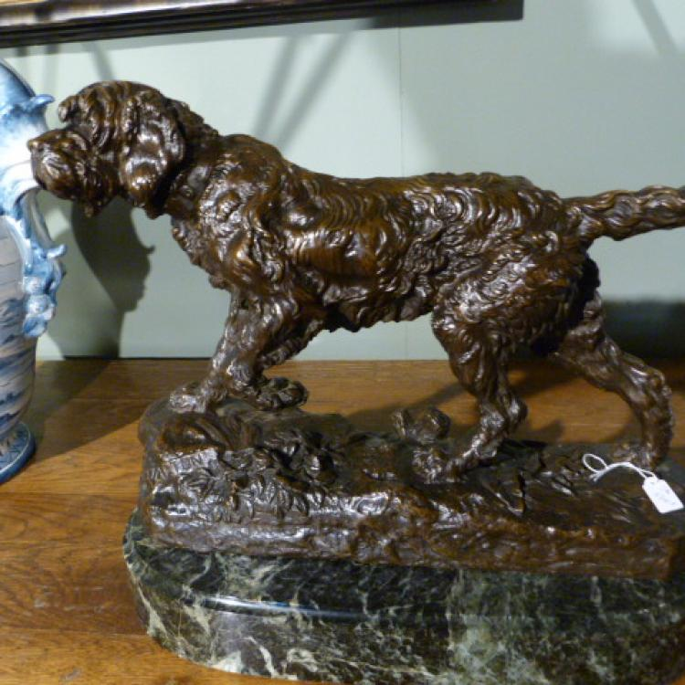 Bronze chien dog Valton Marco JB antique